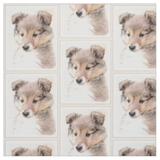 Shetland Sheepdog Puppy Painting Original Dog Art Fabric