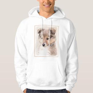 Shetland Sheepdog Puppy Painting Original Dog Art Hoodie