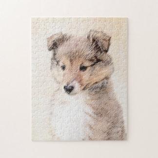 Shetland Sheepdog Puppy Painting Original Dog Art Jigsaw Puzzle