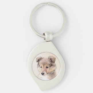 Shetland Sheepdog Puppy Painting Original Dog Art Keychain