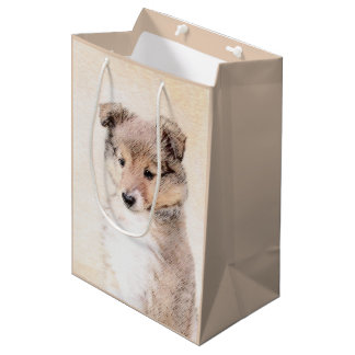 Shetland Sheepdog Puppy Painting Original Dog Art Medium Gift Bag