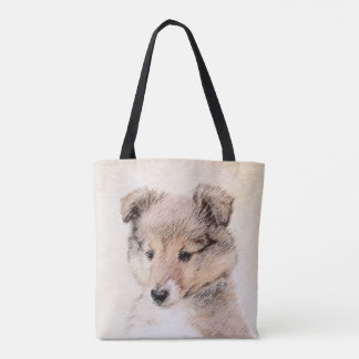 Shetland Sheepdog Puppy Painting Original Dog Art Tote Bag
