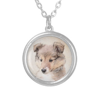 Shetland Sheepdog Puppy Silver Plated Necklace