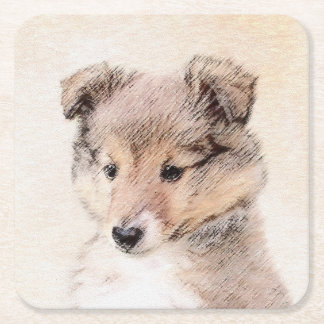 Shetland Sheepdog Puppy Square Paper Coaster