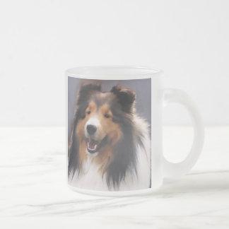 Shetland Sheepdog Sheltie Art Gifts Frosted Glass Coffee Mug