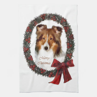 Shetland Sheepdog Sheltie Christmas Kitchen Towel