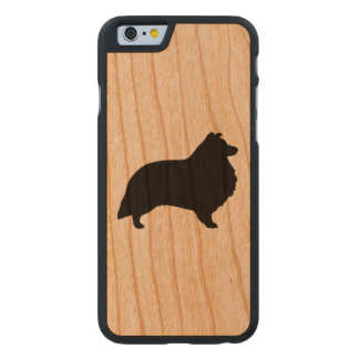 Shetland Sheepdog Silhouette Carved Cherry iPhone 6 Case