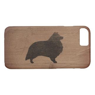 Shetland Sheepdog Silhouette Rustic iPhone 8/7 Case