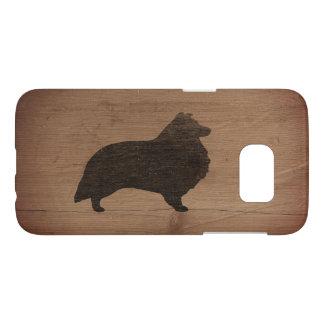 Shetland Sheepdog Silhouette Rustic Samsung Galaxy S7 Case
