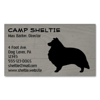 Shetland Sheepdog Silhouette Wood Style Magnetic Business Card