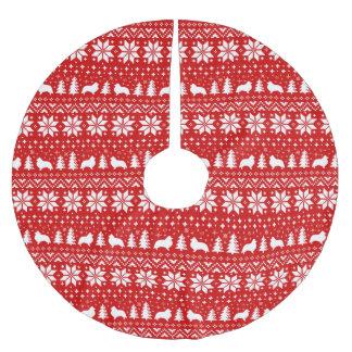 Shetland Sheepdog Silhouettes Christmas Pattern Brushed Polyester Tree Skirt