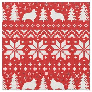Shetland Sheepdog Silhouettes Christmas Pattern Fabric