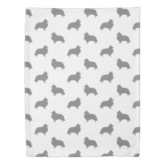 Shetland Sheepdog Silhouettes Pattern Duvet Cover