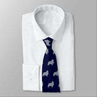 Shetland Sheepdog Silhouettes Pattern Tie