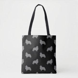 Shetland Sheepdog Silhouettes Pattern Tote Bag