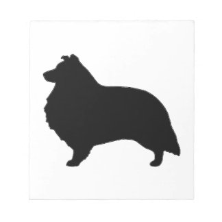 shetland sheepdog silo black notepad