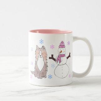 Shetland Sheepdog & Snowman Two-Tone Coffee Mug