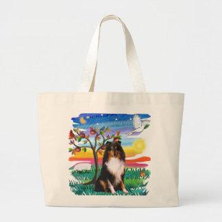 Shetland Sheepdog (tri) Large Tote Bag