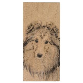 Shetland Sheepdog Wood USB Flash Drive