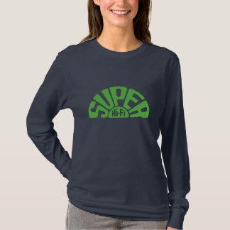 SHF Logo Lime Green on navy Girl LS tee