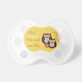 Shh...Baby Needs Some Sleep Owl Pacifier - Yellow