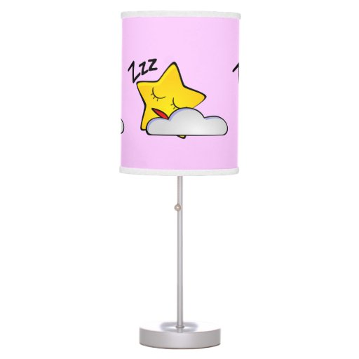 Shh Baby Sleeping Sleepy Star and Cloud Girly Pink Table Lamp