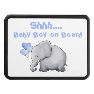 Shhh Baby on Board Cute Heart Balloon Elephant Trailer Hitch Cover