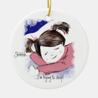 Shhh...Little Girl Sleeping-Art Pendant Ceramic Ornament
