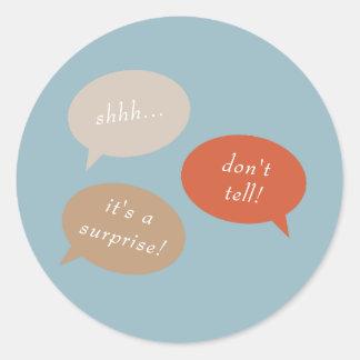 Shhh... Surprise Birthday Party   Speech Bubbles Classic Round Sticker