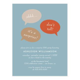 Shhh... Surprise Birthday Party | Speech Bubbles Postcard