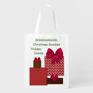 Shhhhh, Christmas Goodies Hidden Inside Tote Grocery Bags