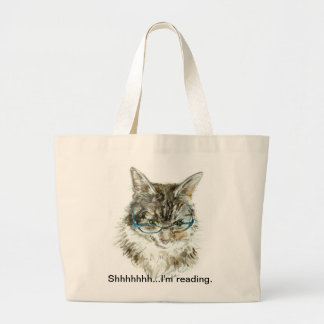 """Shhhhhh...I'm reading"" tote bag with CAT"