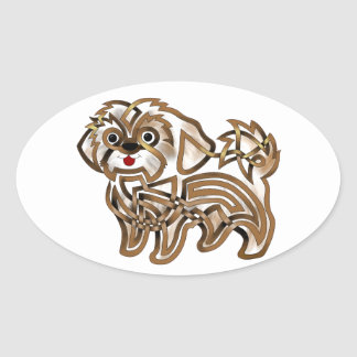 Shi-tzu Oval Sticker