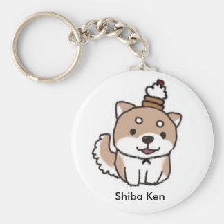 shiba dog basic round button keychain