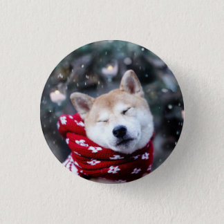 Shiba dog - doge dog - merry christmas 1 inch round button