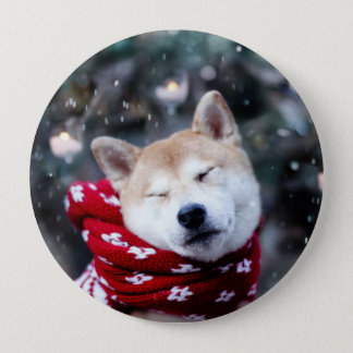 Shiba dog - doge dog - merry christmas 4 inch round button