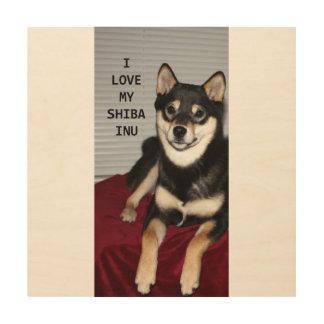 shiba full black and tan love w pic wood print