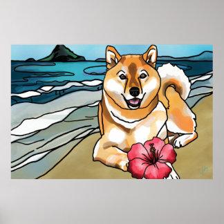 Shiba Inu at Chinaman's Hat, Hawaii Poster