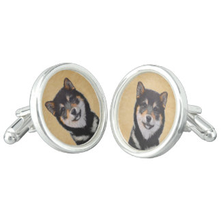 Shiba Inu (Black and Tan) Cuff Links