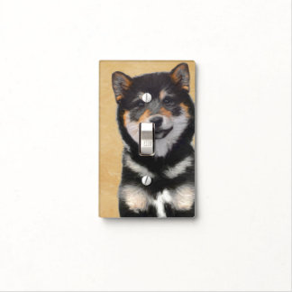 Shiba Inu (Black and Tan) Light Switch Cover