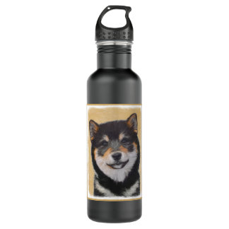 Shiba Inu (Black and Tan) Painting - Dog Art 710 Ml Water Bottle