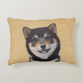 Shiba Inu (Black and Tan) Painting - Dog Art Accent Pillow