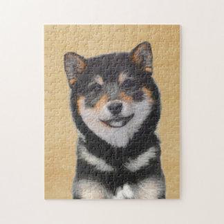 Shiba Inu (Black and Tan) Painting - Dog Art Jigsaw Puzzle