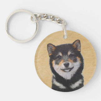 Shiba Inu (Black and Tan) Painting - Dog Art Keychain