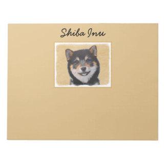 Shiba Inu (Black and Tan) Painting - Dog Art Notepad