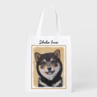 Shiba Inu (Black and Tan) Painting - Dog Art Reusable Grocery Bag
