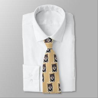 Shiba Inu (Black and Tan) Painting - Dog Art Tie