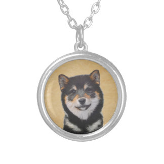 Shiba Inu (Black and Tan) Silver Plated Necklace