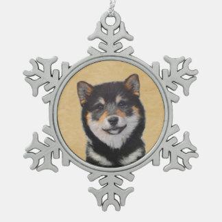 Shiba Inu (Black and Tan) Snowflake Pewter Christmas Ornament