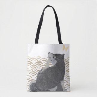 Shiba Inu, Black Shiba, Modern Japanese Tote Bag